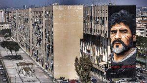 Jorit, il murales dedicato a Maradona a San Giovanni a Teduccio